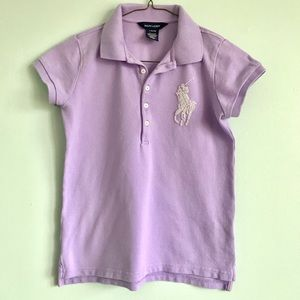 Ralph Lauren Polo shirt embroidered pearls purple